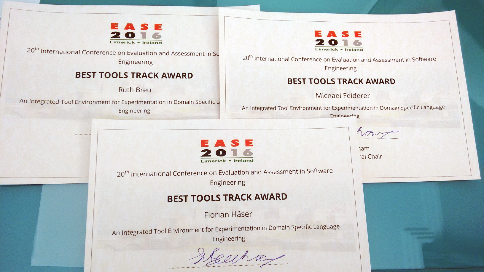 Best Tools Track Award at EASE 2016